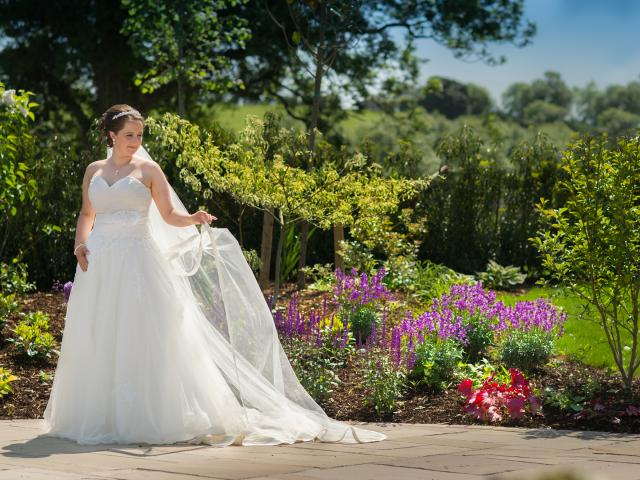 A bride enjoying our stunning new Wedding Gardens at the Cavan Crystal Hotel